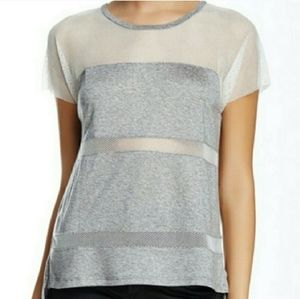 Townsen Mesh Marled Stripe Tshirt Grey White Xs